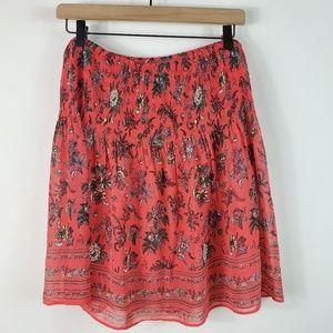 Gathered Waist Floral Print Skirt Large